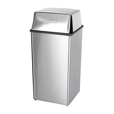 Safco® 9705 Indoor Waste Receptacle With Lid, 36 Gallon, Silver