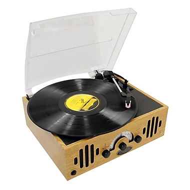 Pyle® PVNTTR22 Retro Belt Drive Turntable With Three Speeds & AM/FM Radio, 33/45/78 RPM