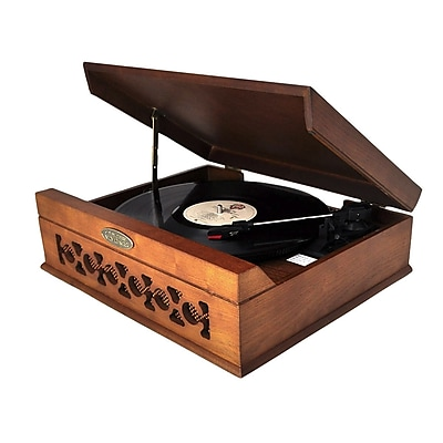 Pyle PVNTT6UMT Vintage Style Phonograph/Turntable With USB To PC Connection, 33/45/72 RPM 283486