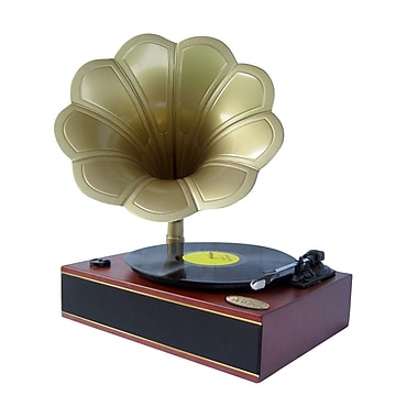 Pyle® PNGTT1R Classic Horn Phonograph/Turntable With USB to PC Connection & Aux In, 33/45 RPM