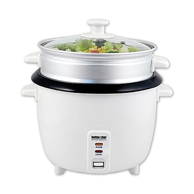Better Chef® 10 Cup (20 Cups Cooked) Rice Cooker With Food Steamer Attachment