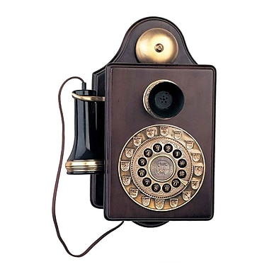Paramount 93576017M Single Line Corded Wall Reproduction Novelty Phone, Brown