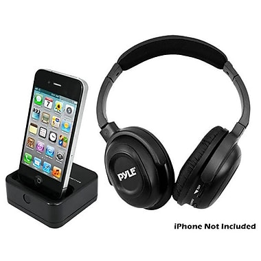 Pyle® UHF Wireless Headphones With IPhone/IPod Dock Transmitter and Aux Input, Black