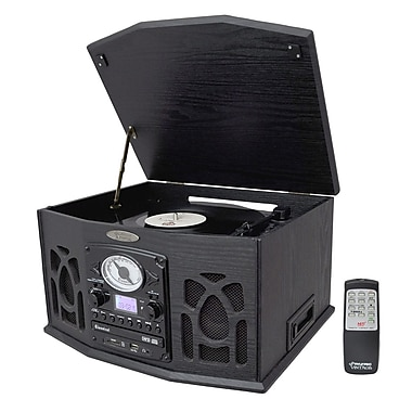 Pyle® PTCDS5U Vintage Turntable With CD/Cassette/Radio/USB/SD/MP3 & Vinyl-MP3 Encoding, 33/45 RPM
