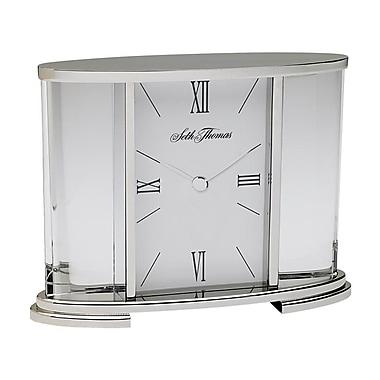 Seth Thomas TSI006060 Glass Carriage Table Clock, Silver