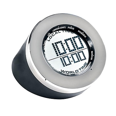 Seth Thomas TBL004102 World Time Multifunction Clock, Black/Silver