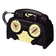 Us Basic 841179 AM/FM Retro Clock Radio Phone, Black