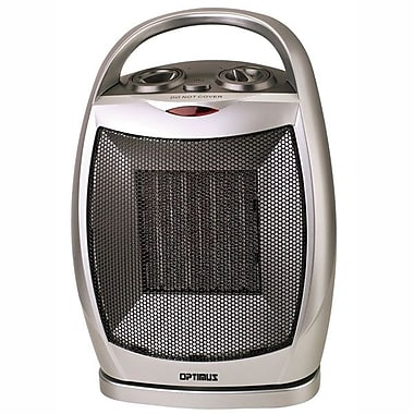 Optimus H-7247 1500 W Portable Oscillating Ceramic Heater With Thermostat, Silver