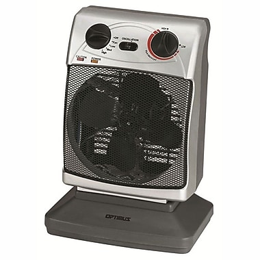 Optimus H-1380 Portable Oscillating Fan Heater With Thermostat