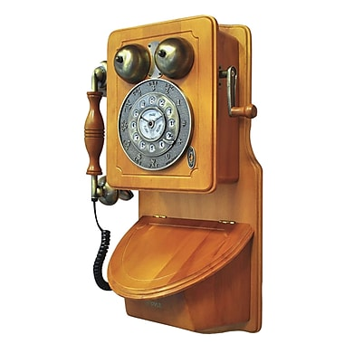 Pyle PRT45 Retro Themed Single Line Corded Coutry-Style Antique Wall-Mount Phone, Brown