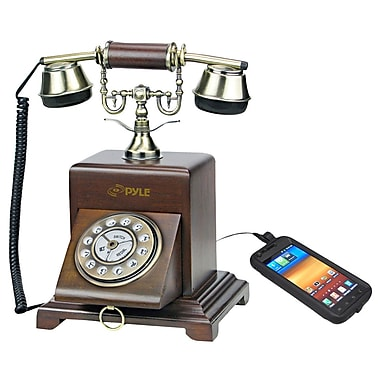 Pyle® PRT25I Authentic Classical Home Telephone System W/Speaker & Audio Input F/Smartphone, Wood
