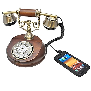 Pyle® PRT15I Retro Telephone System W/Integrated Speaker & 3.5 mm Audio Input Jack F/Smartphone, Wood