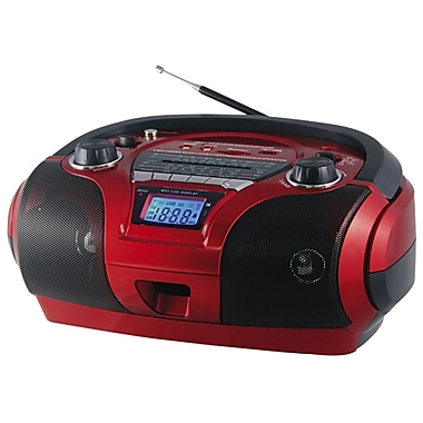QFX J-63US Portable AM/FM/SW1-2 Radio With USB/SD, Red
