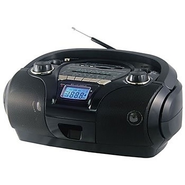 QFX J-63US Black Portable AM/FM/SW1-2 Radio With USB/SD
