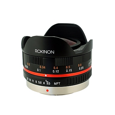Rokinon® FE75MFT 7.5mm f/22 - f/3.5 Ultra Wide Angle Fisheye CS Lens For Olympus Micro 4/3