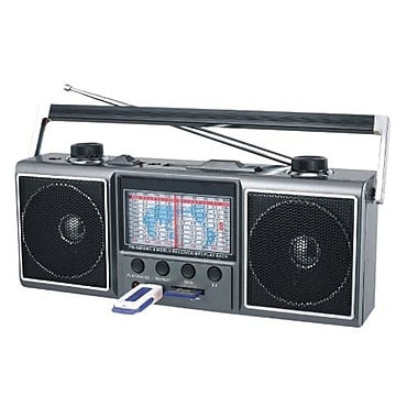 Supersonic® SC-1087 11 Band AM/FM/SW 1-9 Radio With USB and SD Card Slot, Gray