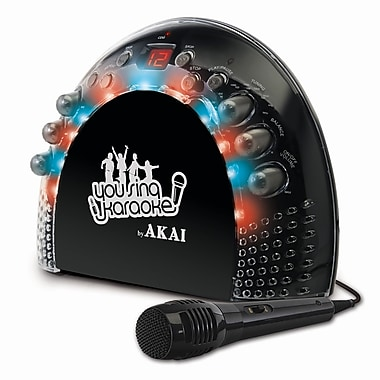 Akai KS-201 2 x 1 W Portable Front Load CD+G Karaoke AM/FM Radio Player With Light Effects