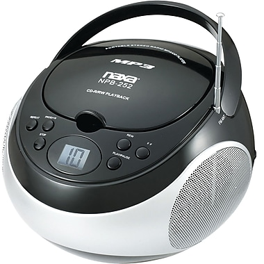 Naxa® NPB-252 MP3/CD Player With AM/FM Stereo Radio, Black