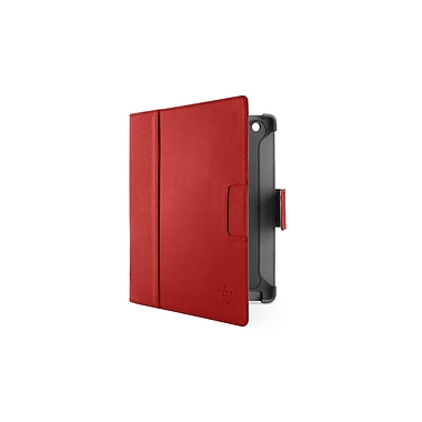 GameFitz 93577242M Tri Fold Folio Case for Apple iPad Tablet, Red