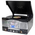 Pyle® PTR8UB Retro Turntable With Aux Input/Radio/USB/SD/MP3 & Vinyl - MP3 Encoding, 33/45/78 RPM