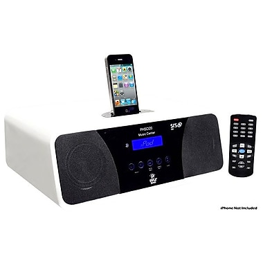 Pyle® PHSCI20W 2.1 Channel AM/FM Clock Radio Speaker F/IPod/iPhone, White