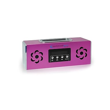 Technical Pro BOOMBOX2P Portable Rechargeable Speaker With iPod Loading Dock and USB Input, Pink