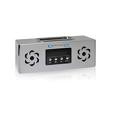 Technical Pro BOOMBOX2S Portable Rechargeable Speaker With iPod Loading Dock and USB Input, Silver