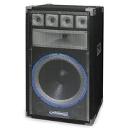 Technical Pro VRTX 1200 W 15 Six Way Carpeted Cabinet Speaker With Steel Grill, Black