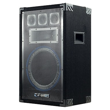 Technical Pro VRTX 1000 W 12in. Five Way Carpeted Cabinet Speaker With Steel Grill, Black