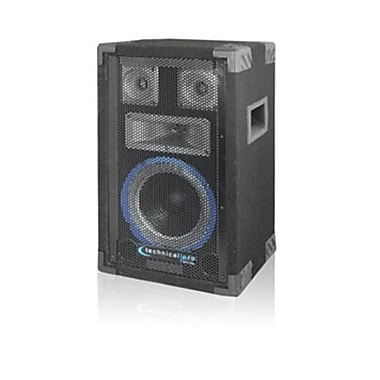 Technical Pro VRTX 600 W 8in. Four Way Carpeted Cabinet Speaker With Steel Grill, Black