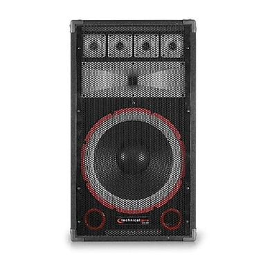Technical Pro VMPR 1500 W 15in. Eight Way Carpeted Cabinet Speaker With Steel Grill, Black