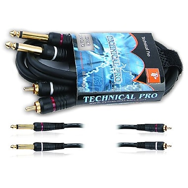 Technical Pro CDQR-Series 3' 18 Gauge Dual 1/4in. Audio Cable, Black