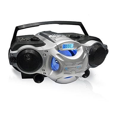 Technical Pro BOOMBOX5 Portable Rechargeable Speaker With USB/SD/TF Inputs, Black/Silver