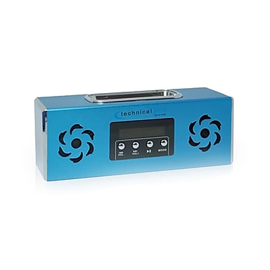 Technical Pro BOOMBOX2U Portable Rechargeable Speaker With iPod Loading Dock and USB Input, Blue