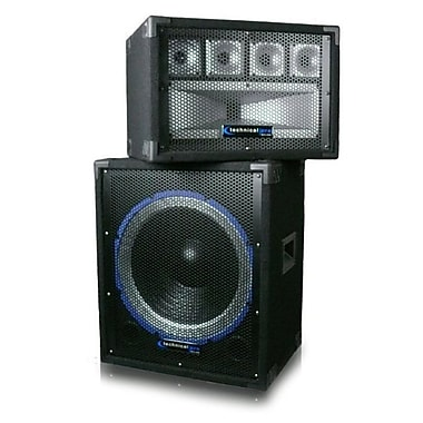 Technical Pro HILOW 900 W 15in. Carpeted Subwoofer & Tweeter Box Combo, Black