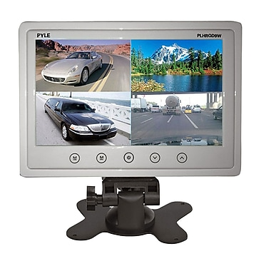Pyle® PLHRQD9 9in. Quad TFT/LCD Video Monitor With Headrest Shroud RCA Connector, White