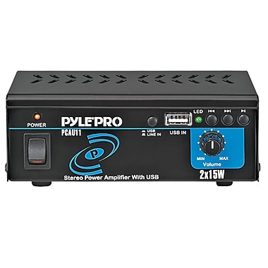 Pyle® PCAU11 Mini 2 x 15 W Stereo Power Amplifier With USB Input