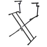 "Pyle® 39 1/4"" X 51 1/4"" Two Tier Double X Braced Heavy-Duty DJ Coffin Keyboard Stand"