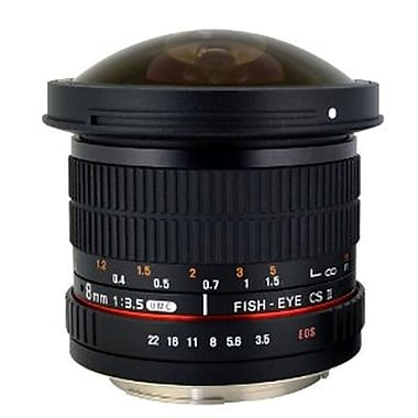 Rokinon® HD8M 8 mm f/22 - f/3.5 HD Fisheye Lens With Removable Hood For Nikon AE