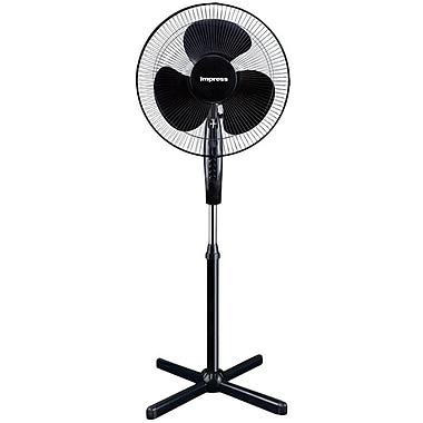 Impress IM-725 16in. Oscillating Stand Fan, Black