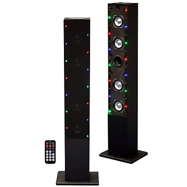 Craig® CHT909C Tower Speaker System With Color Changing Lights and FM Radio, Black