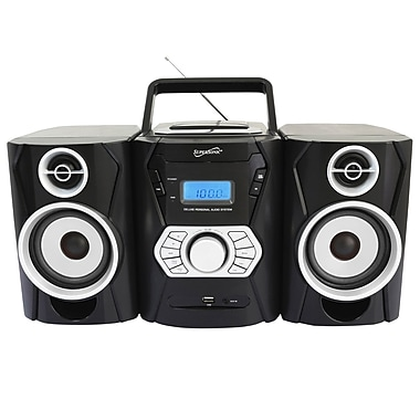 Supersonic® SC-806BT Bluetooth MP3/CD Player With USB/SD/Aux & AM/FM Radio, Black