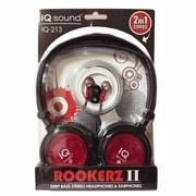 Supersonic IQ-213 Rockerz 2 In 1 Deep Bass Stereo Earbud/Headphone Combo, Red