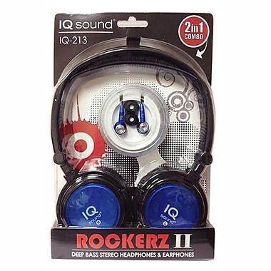 Supersonic IQ-213 Rockerz 2 In 1 Deep Bass Stereo Earbud/Headphone Combo, Blue