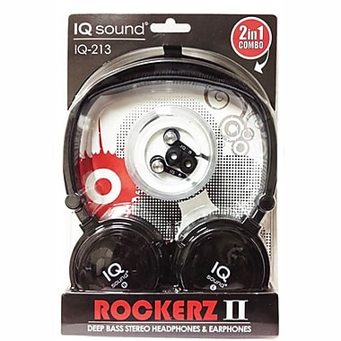 Supersonic IQ-213 Rockerz 2 In 1 Deep Bass Stereo Earbud/Headphone Combo, Black