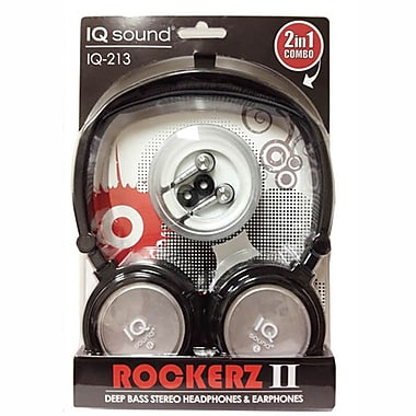 Supersonic IQ-213 Rockerz 2 In 1 Deep Bass Stereo Earbud/Headphone Combo, Silver