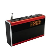 Supersonic® SC-1350 Portable Rechargeable Speaker With Alarm Clock & Fm Radio, Red