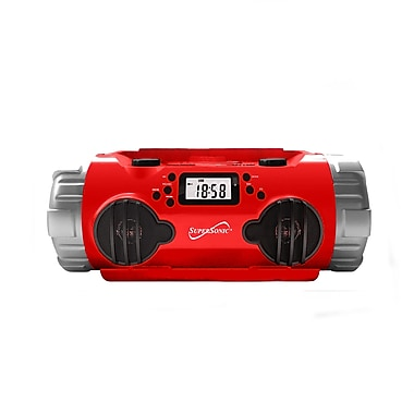 Supersonic® SC-1398 AM/FM/SW1 Radio with USB/SD/Recorder Music Player, Red