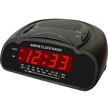 Supersonic® SC-370 Digital Alarm Clock With AM/FM Radio, Black