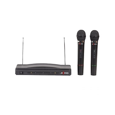 Axess® MPWL1505 100' Range Dual Professional Handheld Wireless Microphone FM Receiver, Black